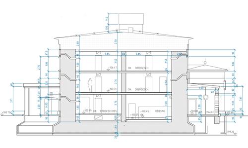 Riss-Zeichnung Bunker